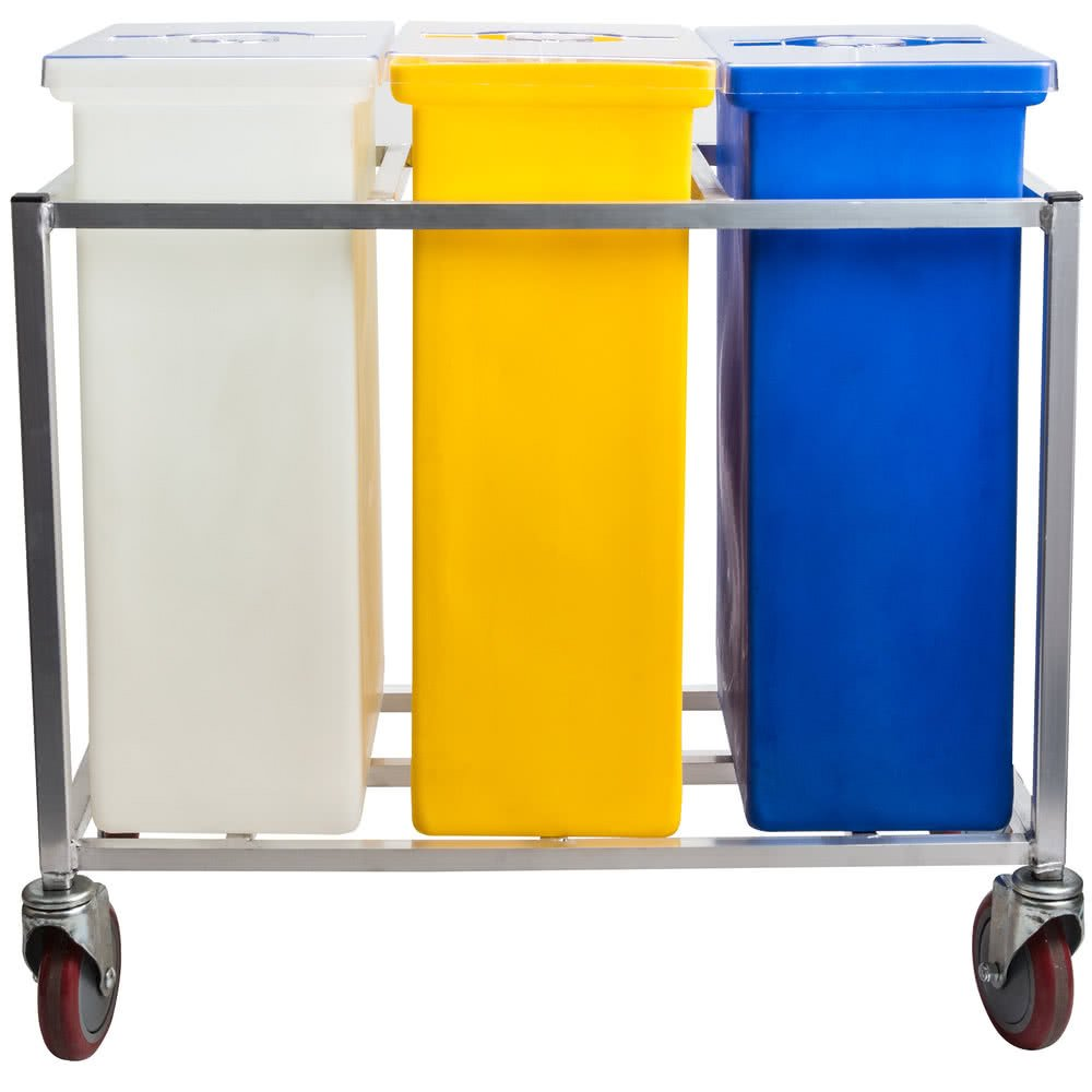 TableTop King 148PIB Triple Ingredient Bin with Aluminum Frame and Casters