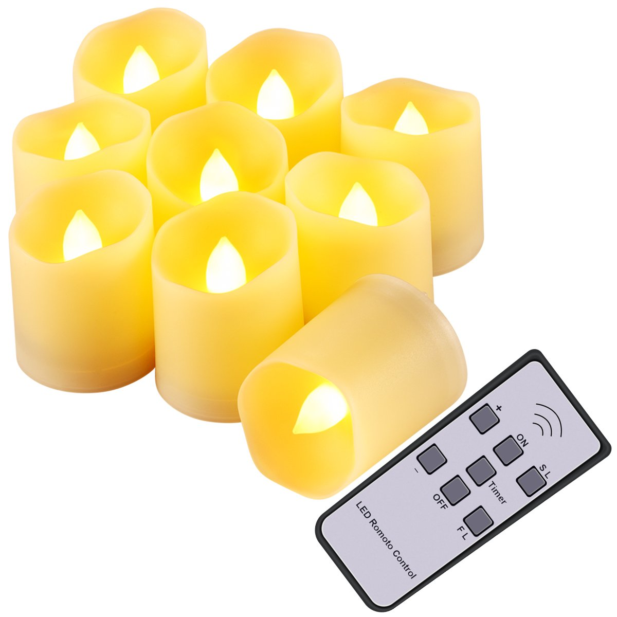 AMIR Flameless Candles, Flickering LED Tea Light Candles, Remote Votive Candles with 5 Brightness, 2 Speeds, Timer & Battery for Seasonal & Festival Celebration, Party & Wedding Decoration (9 Pack)