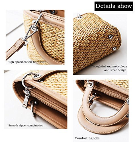 Crossbody Bag Straw Women's Fashion 3 Shoulder Trends Straw Bag HopeEye Womens black Handmade Handbags Handbag wxnSUAxfq
