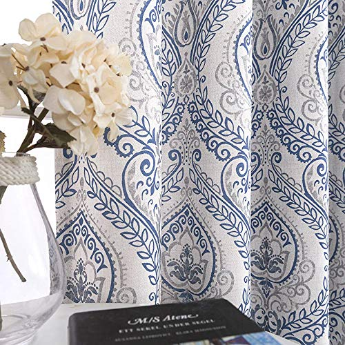 jinchan Medallion Linen Blend Curtains for Living Room 84 Inch Length Drapes Damask Pattern Flax Draperies Window Treatments Room Darkening Sliding Glass Doors for Bedroom Curtain Panels 1 Pair Blue (Grey And Blue Curtain Panels)