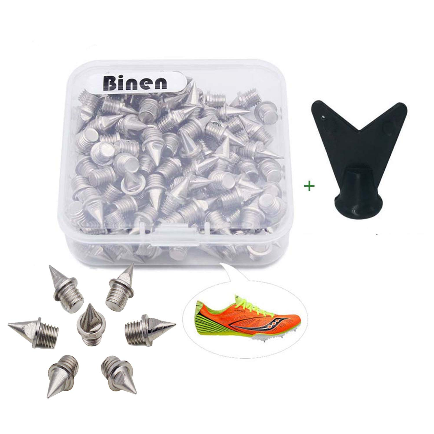 Binen Track Spikes 1/4'' Length Pyramid Shoes Spike Replacement Stainless Steel for Track Sprint Cross Country with Free Wrench,110 Pieces