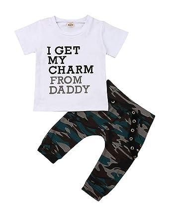 a3806729a VISGOGO Casual Toddler Kids Baby Boys Tops T-Shirt Camo Pants Outfits Set  Clothes 0