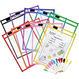 """Dry Erase Pockets 10 Pack, Opret Oversize 10"""" x 13"""" Dry Erase Sleeves Sheets with Pens, 10 Different Colors, for Classroom Organization & Teaching Supplies"""