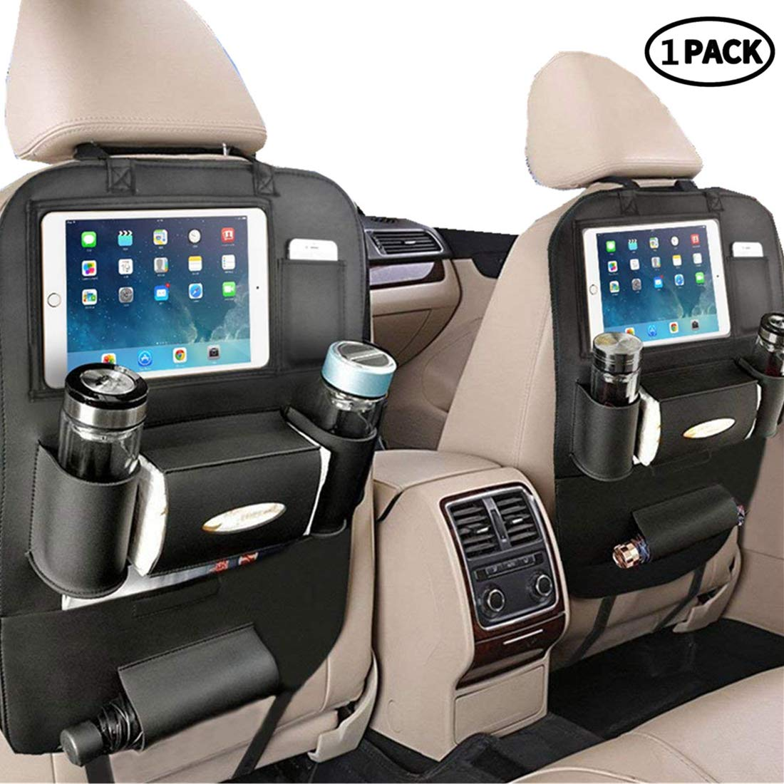 [Upgraded] Pu Leather Car Back Seat Organizer and iPad Holder, Universal Use as Car Backseat Organizer for Kids, Storage Bottles, Tissue Box, Toys(1 Pack, Black) by PALMOO