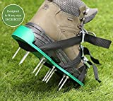 Ohuhu Lawn Aerator Spike Shoes, Aerating Lawn Soil Sandals with Metal Buckles and 3 Adjustable Straps