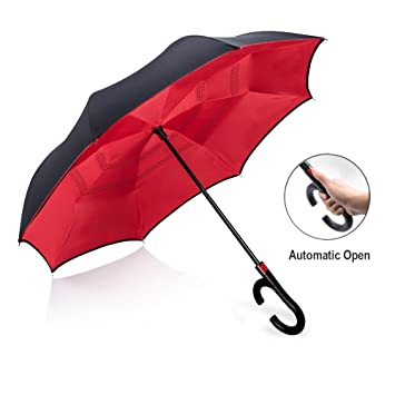 Paraguas reversible resistente al viento para hombre y mujer, paraguas con mango en forma de