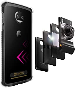 Casewe – Motorola Moto Z2 Force Flexible TPU Protective Bumper Case Cover/Compatible with Moto Mods - Black & Clear
