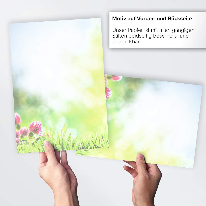 50 Blatt Briefpapier Sommerwiese Blumen Frühling Sommer beidseitig DIN A4