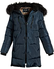 Jessica Simpson Women's Nylon Puffer Long Jacket with Fur Lined Hood
