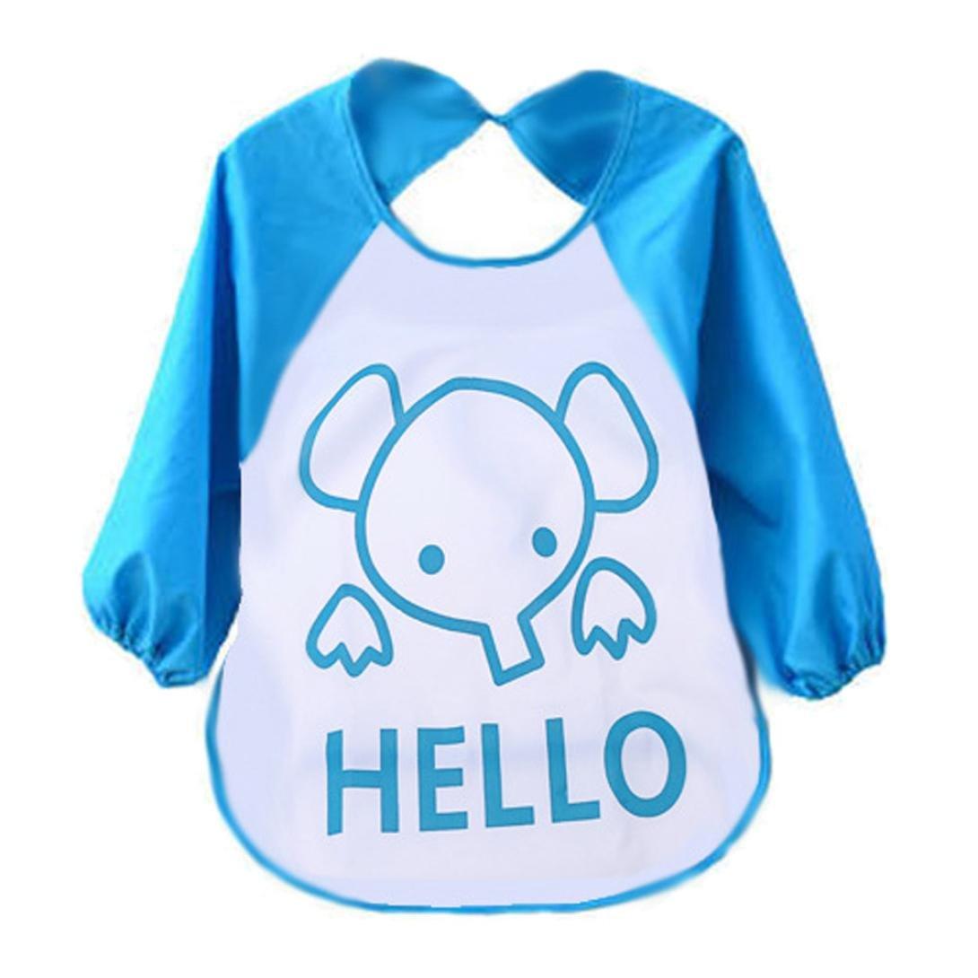 FEITONG Cute Kids Child Baby Cartoon Translucent Plastic Soft Baby Waterproof Bibs FEITONG77