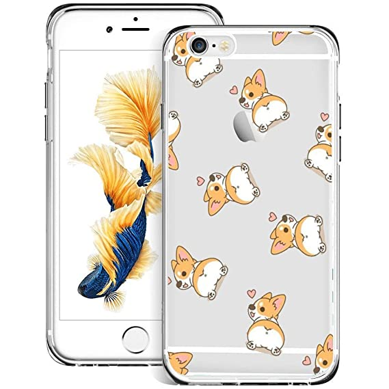 Little Corgi iPhone 6s Plus 6 Plus Case Clear, by Milostar Design TPU Clear Protective Shock-Proof Cover, Case for iPhone 6s Plus 6 Plus Little Corgi
