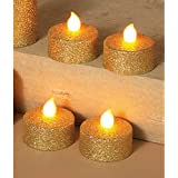 Metallic Glitter Holiday LED Tea Light Candles with Flickering Flame, Set of 4 (Gold)