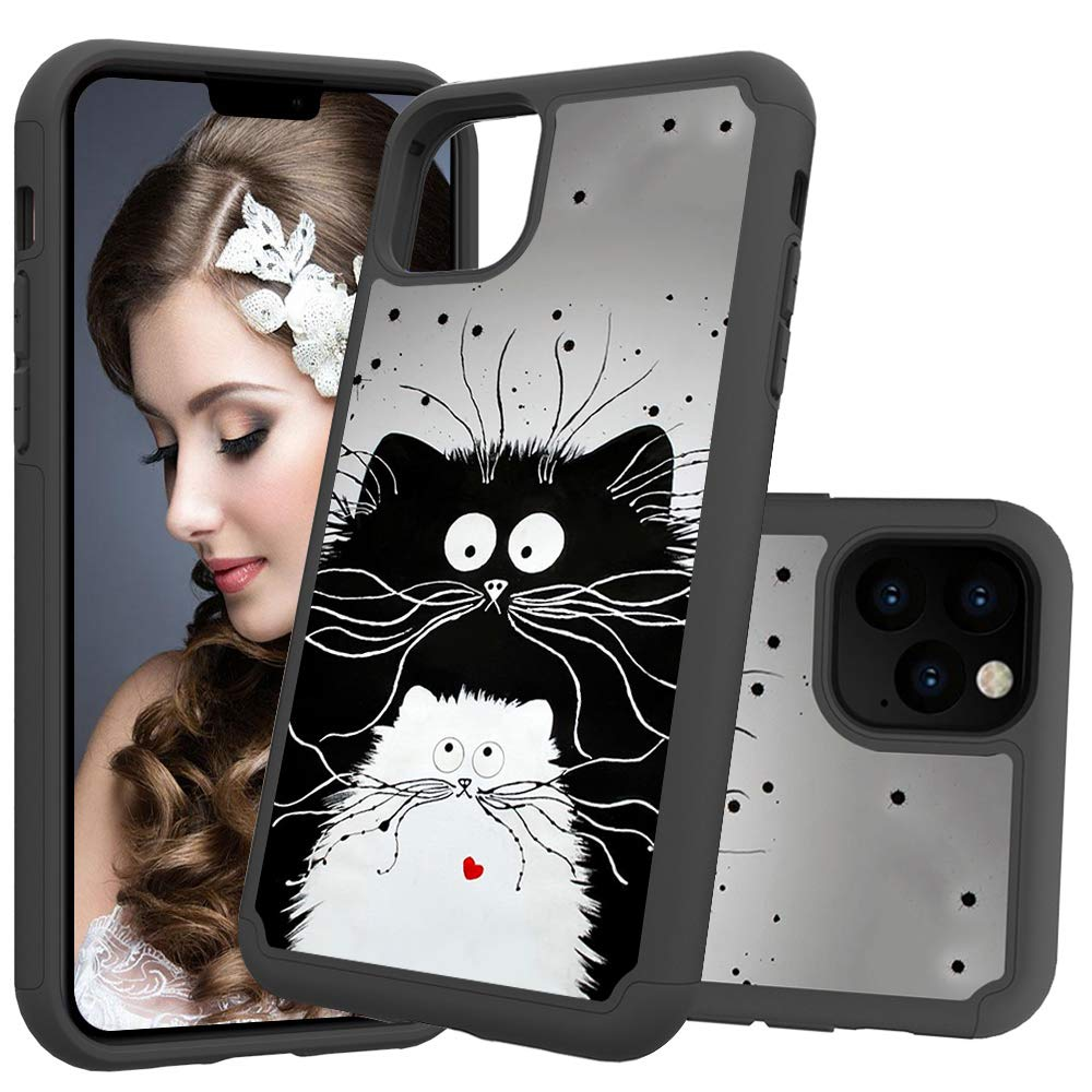 iPhone 11 Pro Max (iPhone 2019 6.5 Inch) Case, Futanwei 2 Layer Heavy Duty Shock Resistant Hybrid Armor Cute Beautiful Painted Defender Phone Case for Apple iPhone 11 Pro Max 2019, cat by Futanwei