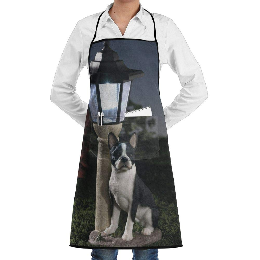 New Solar Boston Terrier Lantern Adjustable Pockets Cooking Unisex Kitchen Aprons Chef Apron Cooking Apron Barbecue Aprons