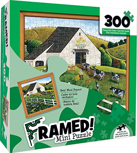 MasterPieces Wood Framed Daisy Field Farm Mini 300 Piece Framed Jigsaw Puzzle by Art (Daisy Framed)