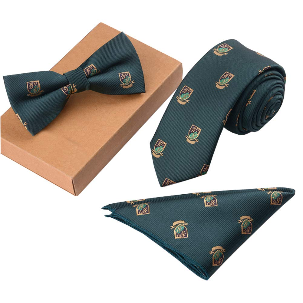 Lanburch Fashionable Premium Formal/Informal Ties Set, Necktie/Bow Tie/Pocket Square for Mens/Boys, Green Shield