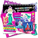 Fashion Dresses Sketch Portfolio Sticker Book - Designer Sketchbook - 100+ Stencils, 36 Giant Coloring Pages, Mermaid Dress Princess Costume Hair Star Stickers – Art Kit Drawing Coloring Book for Kids