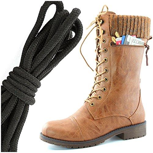 Dailyshoes Womens Combat Stijl Lace Up Enkellaarsje Ronde Teen Militaire Knit Creditcard Mes Geld Portemonnee Pocket Laarzen, Effen Zwart Tan Pu