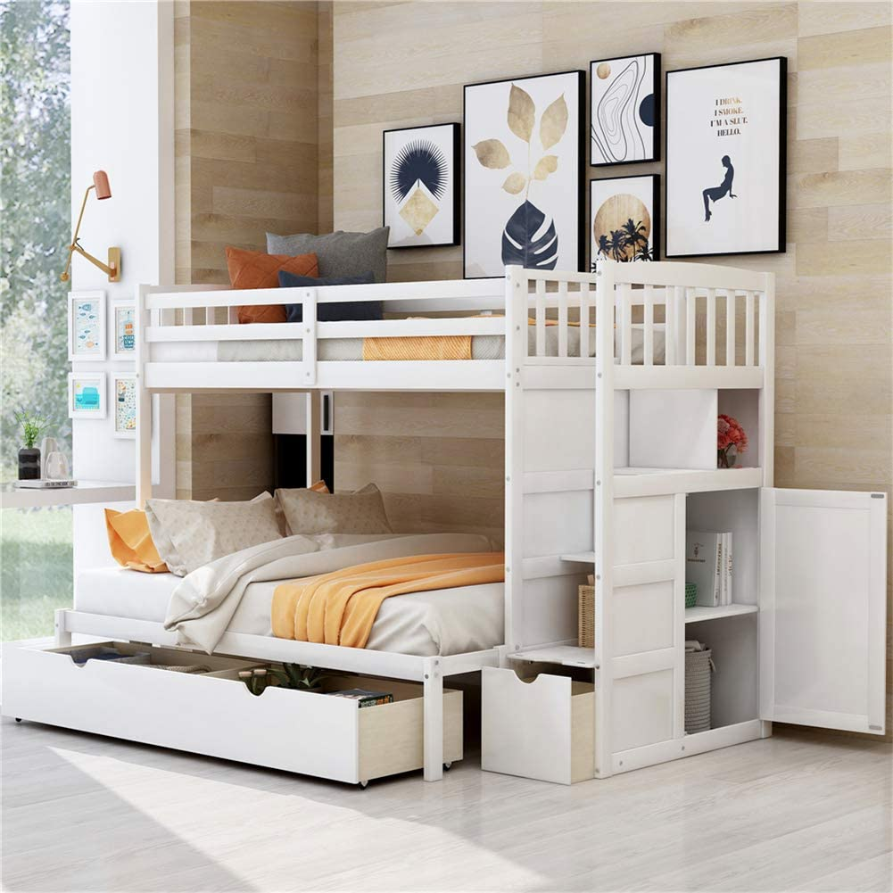 Amazon Com Twin Over Full Twin Bunk Bed With Storage Shelves And Drawers Wood Convertible Bottom Bed Bedroom Furniture White Kitchen Dining