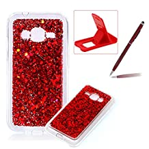 Rubber TPU Case For Samsung Galaxy J1 Mini Prime,Herzzer Slim Lightweight Color Changing Glittering Luxury Unique [Red Sequins] Bling Shiny Sparkle Soft Silicone Gel Clear Bumper Frame Cover for Samsung Galaxy J1 Mini Prime