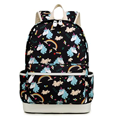 4fab530ec456 Colorful Leaves School Backpack and Lunch Bag Set Lightweight Canvas Cute  14inch Laptop Book Bags Purse for Teen Girls (Purple and Pink) by Kemy s   ...