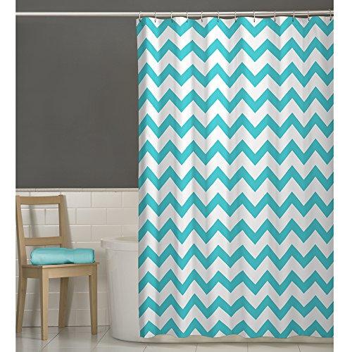 MAYTEX Chevron Fabric Shower Curtain, Aqua, 70 X 72 Inch, Geometric