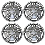 TuningPros WSC3-5028S15 4pcs Set Snap-On Type (Pop-On) 15-Inches Metallic Silver Hubcaps Wheel Cover