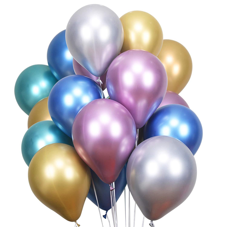 LAttLivParty Balloons 50 Pcs MetallicLatex BalloonsChrome Birthday BalloonsHeliumThick Shiny BalloonsPerfect Decoration for Wedding Birthday Baby Shower Graduation Christmas Party- Multicolor