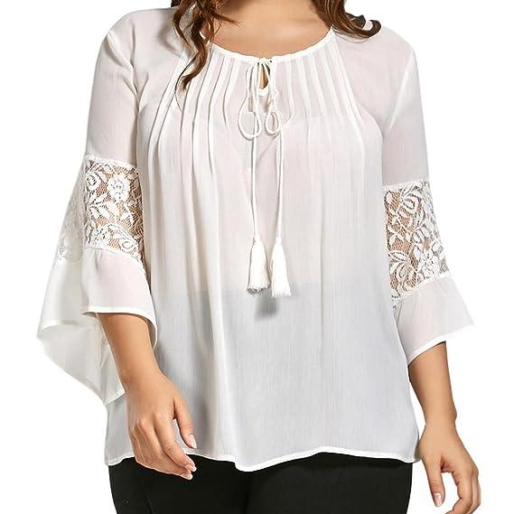 OverDose camisetas larga mujer blusa Gasa encaje borlas cuello 3/4 manga tapas tallas grandes