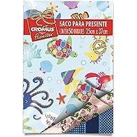 Saco Para Presente Metalizado 25x37cm, Sortidos Mix, Cromus, pacote de 50