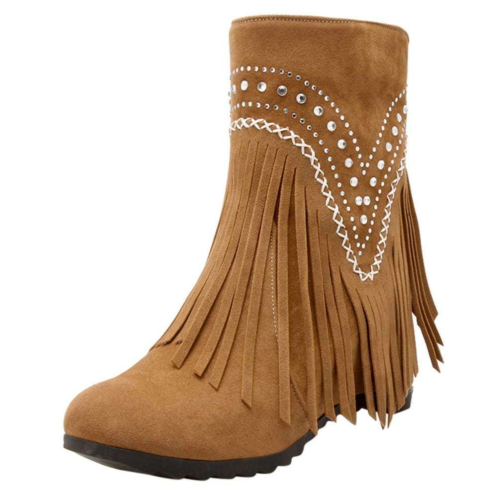 Shusuen Fringe Ankle Boot Western Cowboy Bootie Women Retro Ankle Boots Yellow by Shusuen_Shoes