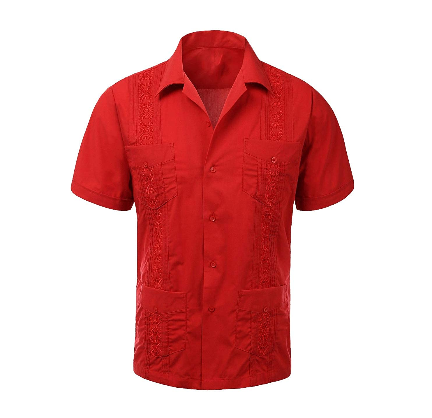 Trend Setters Mens Plus Size Extended Size Red Guayabera Wedding Dress Shirt