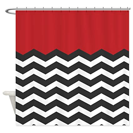 CafePress Red Black And White Chevron Decorative Fabric Shower Curtain 69quot