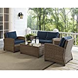 Crosley Furniture Bradenton 4-Piece Outdoor Wicker Conversation Set with Cushions - Navy