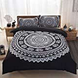Bohemian Gypsy Quilt Cover Hippy Mandala Bedding Set for Bedroom Duvet Cover Sets,Patterns Duvet Cover Love Stretches National Wind Family of 3 Piece Bedding(Black-Full-Boho Luxury Style)