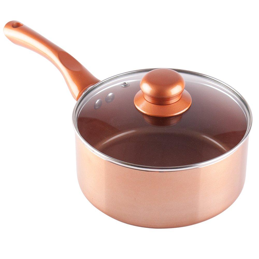 Juego de cazos y sartenes cerámicas antiadherentes con revestimiento de cobre, Frying Pan 28cm: Amazon.es: Hogar