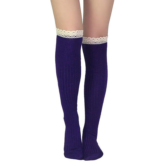 Kilofly Juego de mujer de encaje suave rodillera calcetines Morado morado Talla única