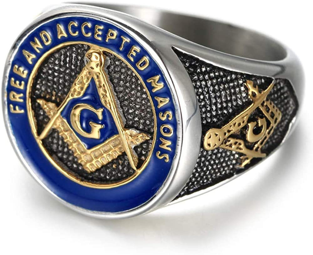 IFUAQZ Men's Stainless Steel Masonic Freemason Rings Gold Blue Free and Accepted Masons Symbol Signet Band