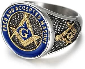 IFUAQZ - Anillo masónico de Acero Inoxidable para Hombre, Color Dorado y Azul, símbolo de masones aceptados