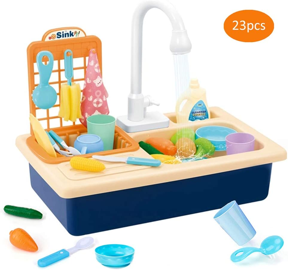 Children Electric Dishwasher Toys Play Kitchen Sink Toy with Running Water Cultivate Cleaning Awareness with Real Faucet Automatic Water Cycle System Play Kitchen Toys for Boys Girls (Blue)