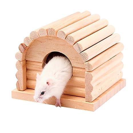 WDILO Hamster - Caseta de madera personalizada, especialmente diseñada para mascotas cómodas y seguras,