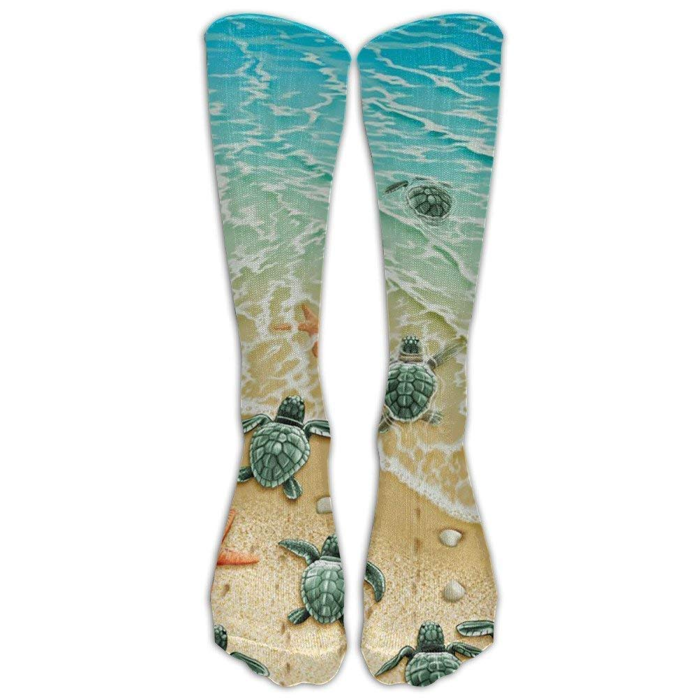 Turtles On The Beach Knee High Graduated Compression Socks For Women And Men - Best Medical, Nursing, Travel & Flight Socks - Running & Fitness