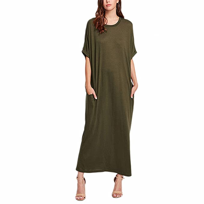 bed9c5e4be2e FLORHO Women Casual Short Sleeve Dresses Round Neck Loose Oversize Maxi  Dress With Pockets Army Green