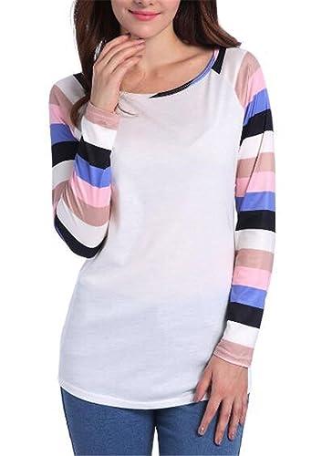 Gogofuture Camiseta Blusa Mangas Largas Mujer Empalme De Color Casual Elegante A Rayas Oficina Blous...