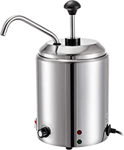 VBENLEM Cheese Dispenser with Pump 2.64 Qt Capacity Hot Fudge Warmer with Pump 110 V 650W Cheese Warmer Stainless Steel Cheese Dispenser with Pump 30-110℃ Temp Adjustable for Hot Fudge Cheese Caramel