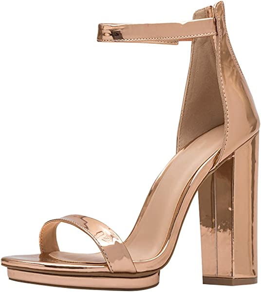 3b6170a4bb13 ... Gold. Wild Diva Womens Open Toe High Chunky Heel Ankle Strap Platform  Sandal Pumps Shoes 7 Rose
