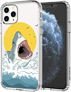 MOSNOVO iPhone 11 Pro Max Case, Shark Pattern Printed Clear Design Transparent Plastic Hard Back Case with TPU Bumper Protective Case Cover for iPhone 11 Pro Max