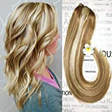 Clip in Hair Extensions Blonde Highlighted Human Hair Balayage Ombre Long Hair Extensions Strawberry Blonde with Bleach Blonde 16 inch 7 PCS Fine Hair Full Head 27/613 Silky Straight 70g Remy Hair