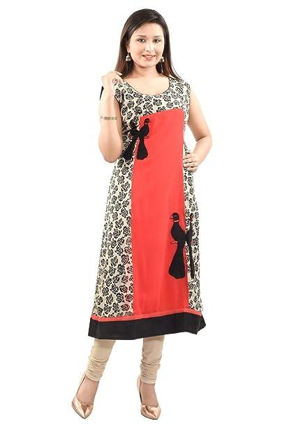 c4c9e02d49a2 Nakhrili Red Latest 2016 Designer Straight Printed Plain & Printed Georgette  Kurti For Women / Ladies