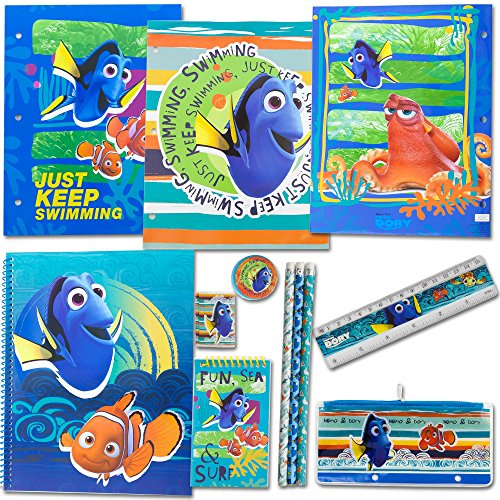 Disney Finding Dory School Supply Stationery Set; 3 Folders 3 Pencils, 100-page notepad Large, 100-Page Notepad Small, 1 Pencil Sharpener, 1 Pencil Case, 1 Eraser and 1 Ruler   Classroom - Mall Atl